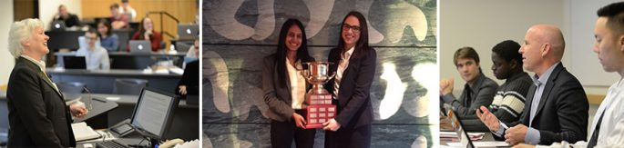 Three different photos: two of professors in class one of two women holding a mooting trophy
