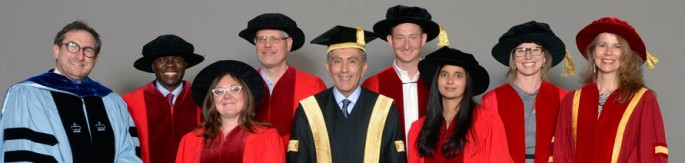 Graduate students in PhD robes