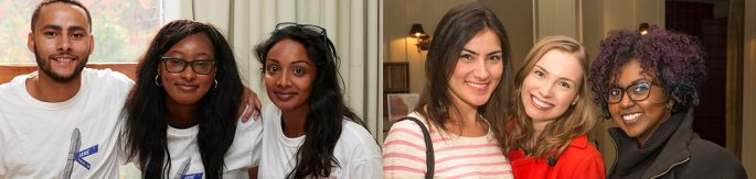 Two photos of two group of students