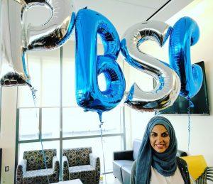 Insiyah Kanjee with PBSC balloons